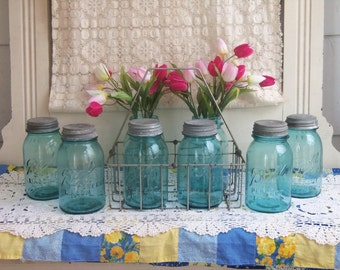 1 Vintage Aqua Blue Ball Perfect Mason Jar  No Lid