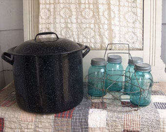 Vintage Canning Pot with Jar Lifter and 6 Aqua Blue Ball Perfect Mason Jars Cold Canner Water Bath Canner B611
