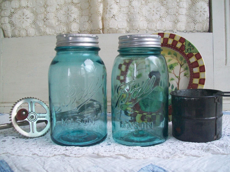 2 antique blue mason jars aqua ball mason by catfishjarrescue. Black Bedroom Furniture Sets. Home Design Ideas