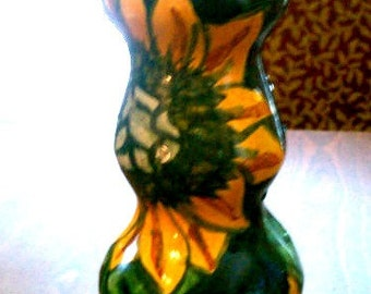 Mexican Talavera Ceramics Candlestick Sunflower Image