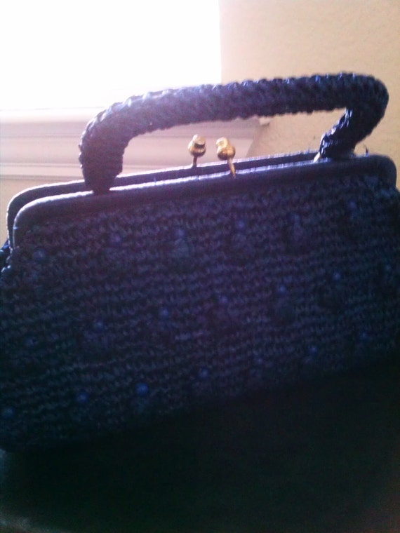 "Vintage Navy Blue Straw Handbag ""Sale Price"""