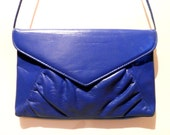 Vintage Blue Leather Flapover Purse