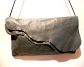Vintage Gray Leather Flapover Purse