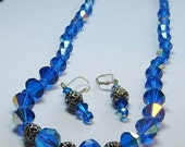 ARTISAN cobalt blue Set necklace & earrings SET glimmering crystal GLASS beads sO BEAuTIFUL