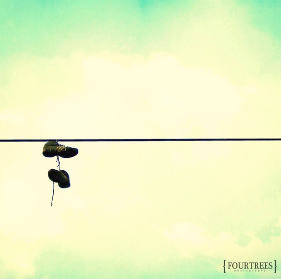 Running Down A Dream - 5x5 Running shoes print powerline photography wire line runner hobby home decor wall art exercise room blue green