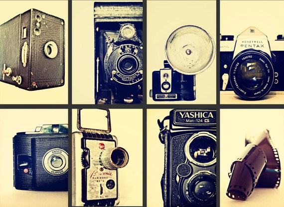Picture This - Set of 8 eight 8x12 vintage old camera photography prints antique cameras film 35mm 8mm movie cream home decor wall art