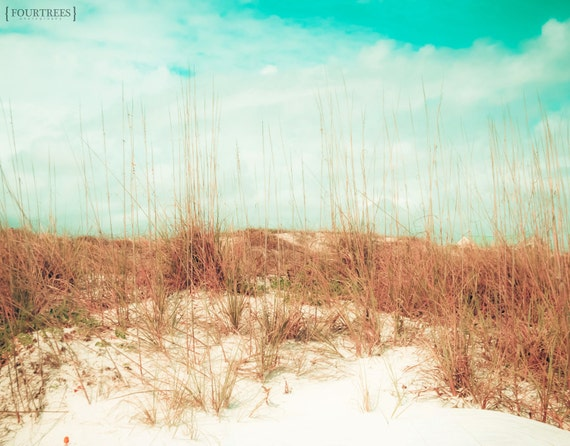 I Can See Clearly Now - 8x10 Beach white sand dunes photography print vacation home nursery room decor wall art serene aqua blue sky clouds