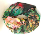 Designer Chiffon Scarf for Women, Girls - Floral design in Black, Green, White, Pink
