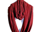 Dark Grey and Red Circle Scarf in Soft Jersey for Women, Girls, Men - Handmade Infinity Scarf