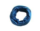 Blue Scarf in Soft Jersey for Women, Girls, Men - Handmade Unisex Scarf in Cobalt Blue