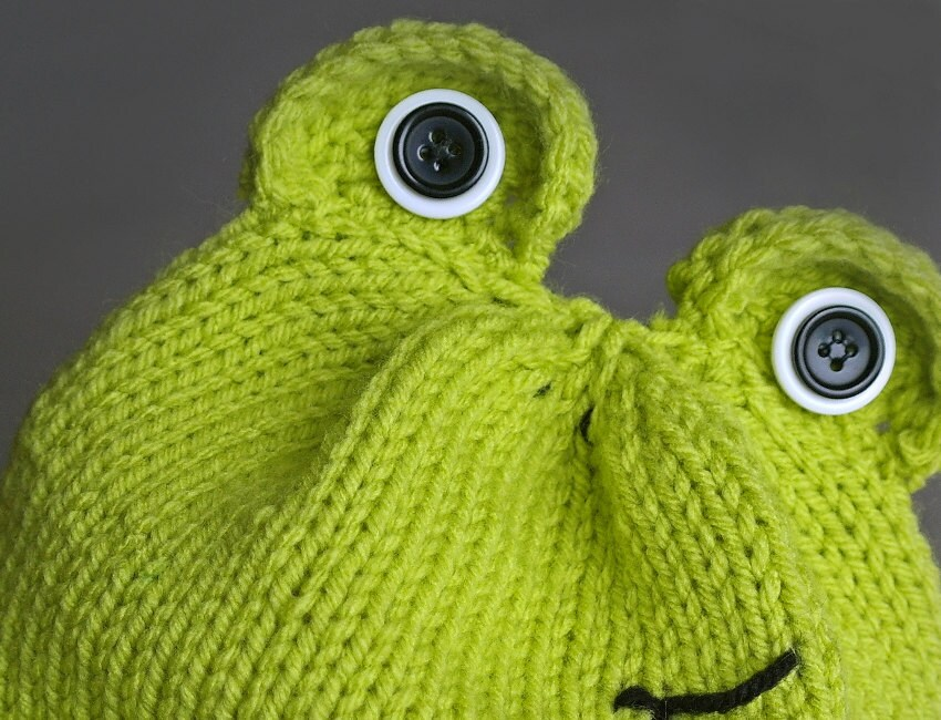 Knitting Pattern For Frog Hat : Green knit frog beanie hat with button eyes by TheKnittedArts