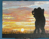 "SOLD - ""Sunset Embrace"" Painting Landscape with Silhouette"