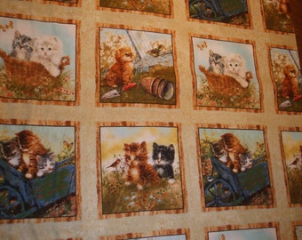 CATS- New 100% cotton Novelty Squares/Panel quilting fabric