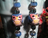 "Blue Hand painted ""Midnight Owl"" porcelain owl and czech earrings."