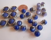 Vintage Buttons in Blue and Lavender Tones, Vintage Button Lot