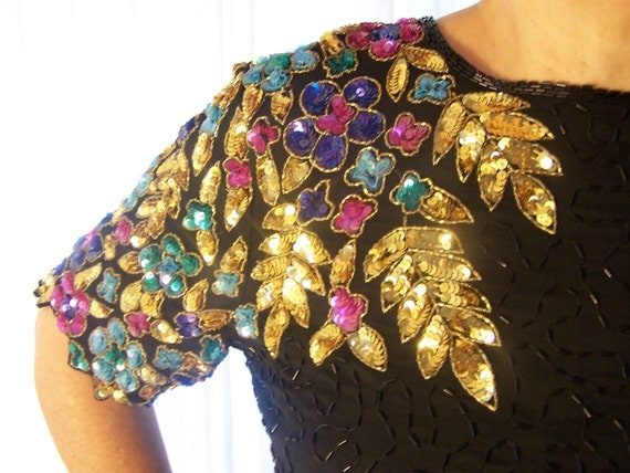 Black Silk Beaded Top with Brightly Colores Floral and Leaf Desigh.....