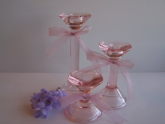 Vintage Pink Glass Candle Holders, Set of 3 Graduated Sizes
