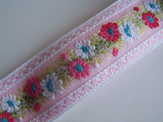 Vintage Pink  and Green Ribbon Trim , Woven Ribbon Decorative Sewing, Vintage Supply.....