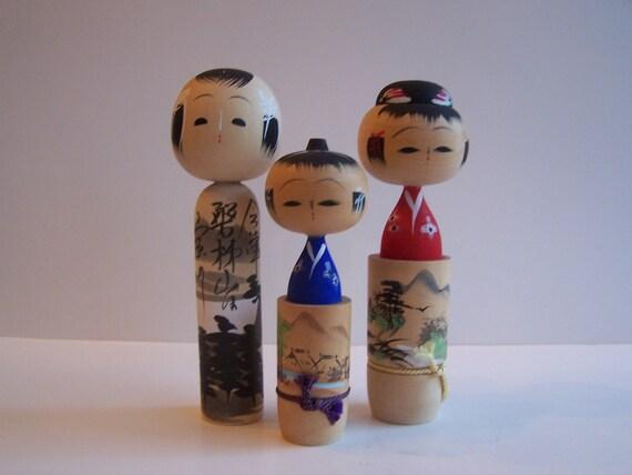 Reserved for Sandra Vintage Japanese Kokeshi Wooden Japanese Family Set