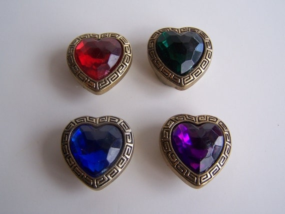 Vintage Jeweled Button Cover Heart Shaped Set of 4
