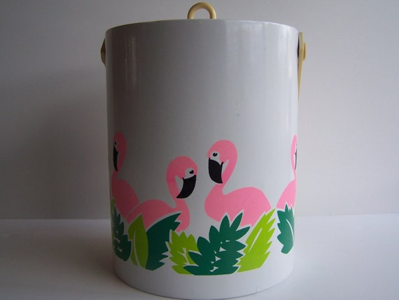 Vintage Pink Flamingo Insulated Ice Bucket, Vintage Ice Bucket