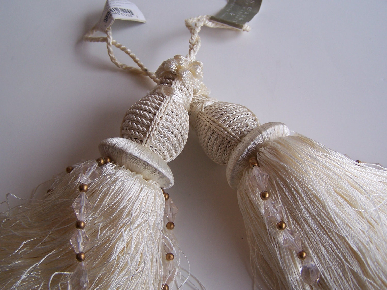Two Decorative Tassels Beautiful Large Cream By Hautemarche