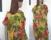 handmade retro 70s BOHO HIPPIE sheer butterfly chiffon caftan dress OS