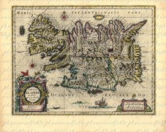 Map of Iceland From 1600s Ancient Old World Cartography Exploring Sailing Vintage Digital Image Download 025 Reykjavík