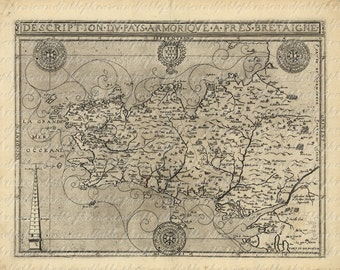 Map of Brittany From The 1500s 049 Lorient Brest Rennes Quimper Bretagne France Digital Image Transfer Download Clip Art