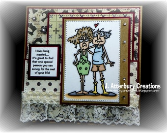 OOAK---I Love Being Married Card + Matching Envelope Box