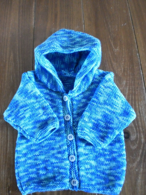Baby Cardigan Blue Hand Knitted Hoodie