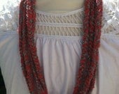Crochet Neck Accessory -Necklace / Infiniti Scarf / Cowl -  Coral & Silver/Grey