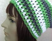 Crochet Beanie-Grey & White with pop of neon lime green