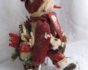 Primitive Snowman Doll Out For A Ride On His Tricycle PDF E-Pattern