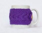 Knit Mug Cozy, Purple Cup Sleeve, Cup Cozy, Mug Warmer