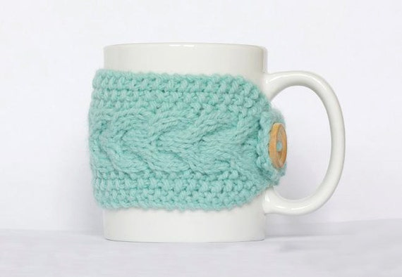 Knitted Mug Cozy, Mint Green Cup Cozy, cable design