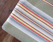 Vintage FRENCH TICKING FABRIC Striped, Olive Green/Beige, 5 shades of Brown, White, Black, Gray, Red Orange and Yellow, cotton.