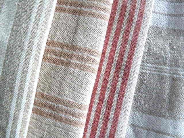 107 Antique Ticking Fabric Bundle Gray Beige Red Linen