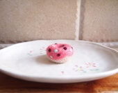 Felt donut pendant. Handmade Needle felted Sweet Coral Pink Donut / Doughnut pendant charm hangs from ball chain necklace