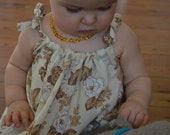 Pretty Baby Girl Handmade Vintage Floral Summer Dress or Top Brown and Cream