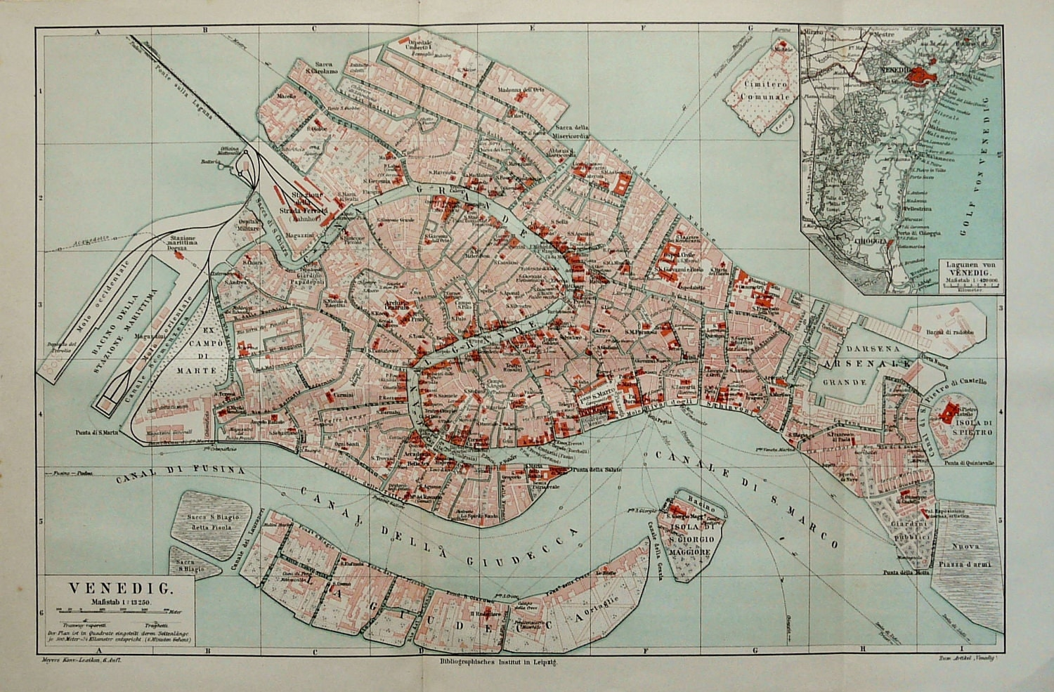 1897 Antique city map of VENICE ITALY.