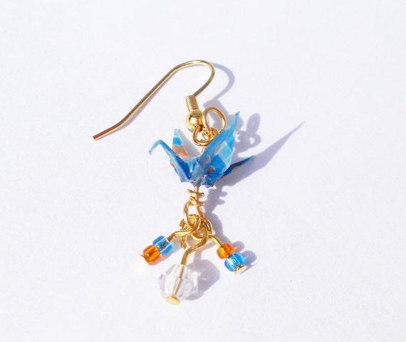 Mini Origami Crane Earrings Blue and Orange 1 cm