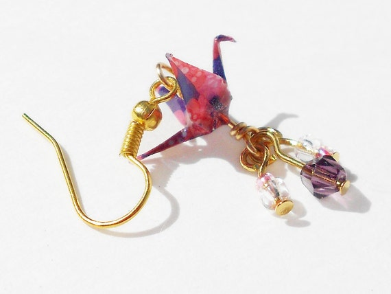 Mini Paper Crane Earrings - 1cm Crane Gold Colored Findings - GE1
