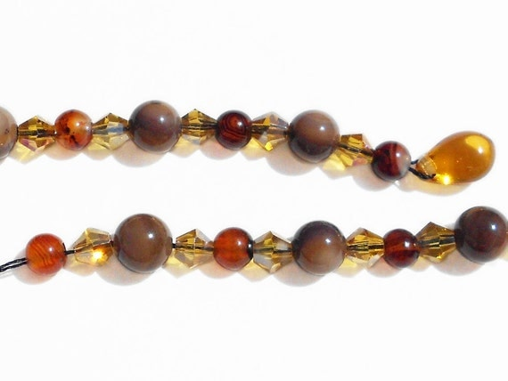 Adjustable Beaded Bookmark Natural Agate and Shell