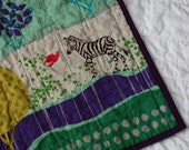 Modern quilt for baby - MADE TO ORDER Little Zebra - Last one