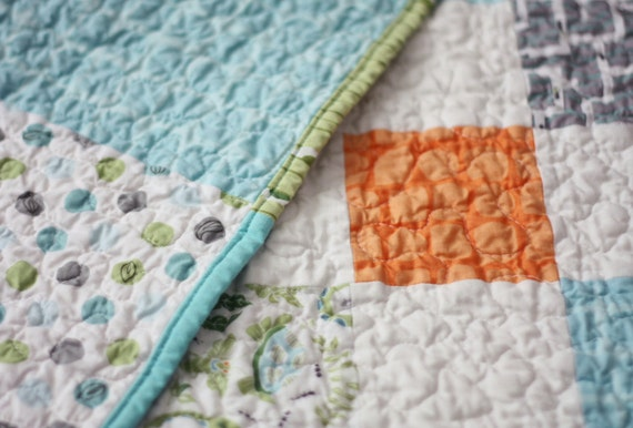 Modern quilt for baby boy - Friendly Creatures II