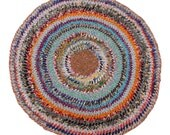 """Reserved - Bohemian Braided Rug of Patchwork Vintage Fabrics 36"""""""