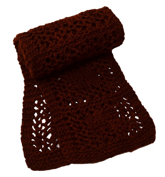 Rust Checkerboard Lace Hand Knit Wool Scarf