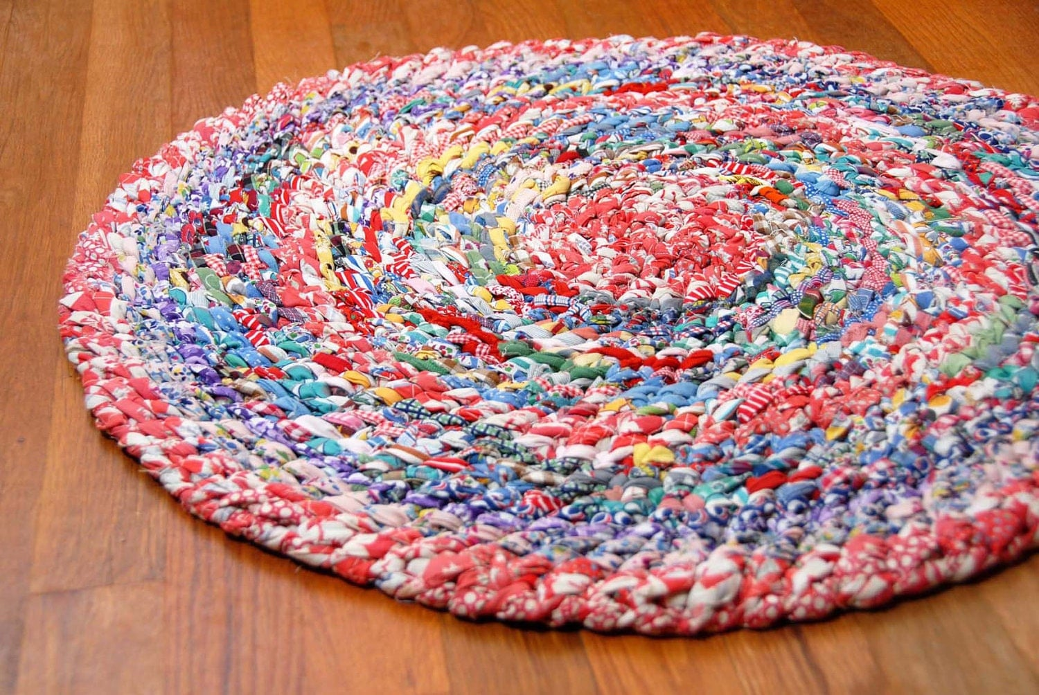 Red Cotton Hand Braided Rag Rug Of Vintage Fabrics 25