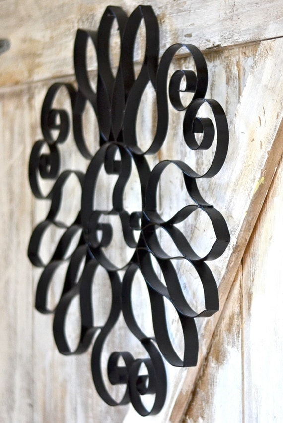 Reserved for Trish Vintage Black Iron Scroll Architectural Wall Hanging